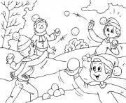 les enfants jouent a la bataille de neige en hiver dessin à colorier
