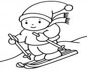 un enfant fait du ski sport dhiver dessin à colorier
