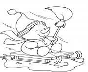 bonhomme de neige qui glisse sur la neige dessin à colorier