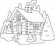 chalet hiver maison hivernage dessin à colorier