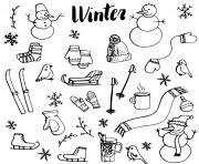 winter icones dessin à colorier