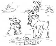 Coloriage cerf animaux rennes hiver