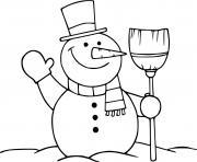 bonhomme de neige au froid hibernation dessin à colorier