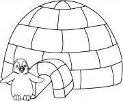 igloo maternelle abri en bloc de neige habitation hivernale dessin à colorier