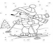 herisson fait du ski animaux dessin à colorier
