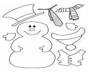 dessin hiver maternelle bonhomme de neige avec ses habits dessin à colorier