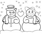 Deux bonhommes de neige amoureux dessin à colorier