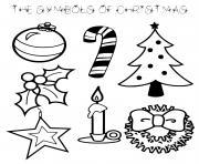les symboles de noel dessin à colorier