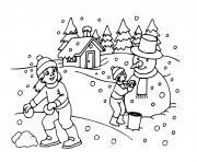 enfants maison sous la neige en hiver dessin à colorier