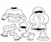 habits vetements dhivers maternelle dessin à colorier