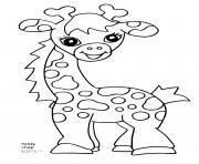 girafe souriante avec de jolie yeux dessin à colorier