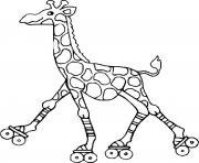 girafe avec des patins a roulettes dessin à colorier
