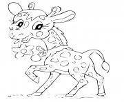 girafe avec une fleur souriante dessin à colorier