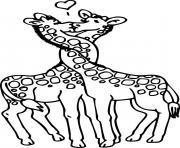 deux girafes s embrassent dessin à colorier