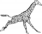 girafe qui court dessin à colorier