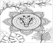 zen girafe mandala feuilles dessin à colorier