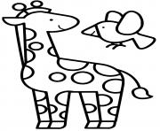 girafe maternelle facile dessin à colorier