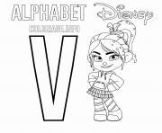 Lettre V pour Vanellope dessin à colorier