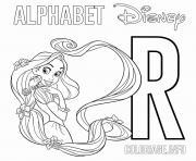 Lettre R pour Rapunzel Disney dessin à colorier