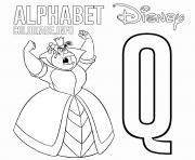 Lettre Q pour Queen of Hearts dessin à colorier