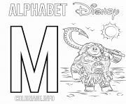 Lettre M pour Maui de Moana Disney dessin à colorier