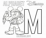 Coloriage Lettre M pour Mickey Mouse Pirate Disney