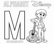 Lettre M pour Miguel Disney dessin à colorier