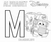 Lettre M pour Mack de Cars Disney dessin à colorier