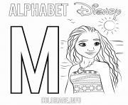 Lettre M pour Moana Disney dessin à colorier