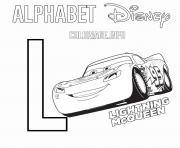 Lettre L pour Lightning McQueen de Cars Disney dessin à colorier