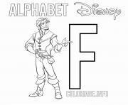 Coloriage Lettre F pour Flounder dessin