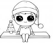 elf avec les oreilles pointues pres dun petit sapin dessin à colorier