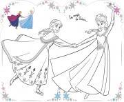 La magie de lhiver Elsa et Anna dessin à colorier