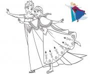 Coloriage sisters elsa and anna having fun frozen christmas