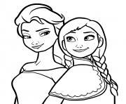 les princesses du royaume Elsa et Anna dessin à colorier