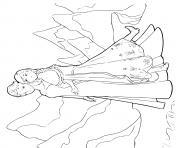 reine des neiges anna et elsa dans les montagnes dessin à colorier