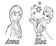 reine des neiges elsa anna dessin à colorier