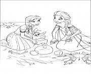 anna elsa avec olaf dessin à colorier