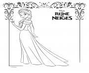 elsa et sa robe de glace frozen disney dessin à colorier