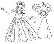 reine des neiges anna et elsa princesse dessin à colorier