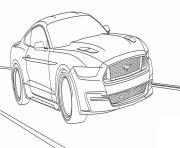 ford mustang voiture de course tuning dessin à colorier