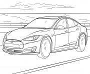 Tesla Model S dessin à colorier