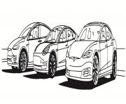 les trois vehicules Tesla dessin à colorier