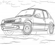 Peugeot 205 dessin à colorier