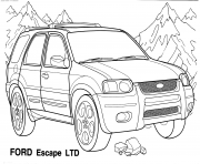 Voiture Ford 4x4 Escape LTD dessin à colorier