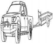 voiture 4x4 avec remorque dessin à colorier