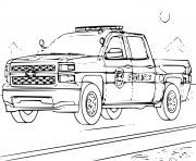 voiture 4x4 Police dessin à colorier