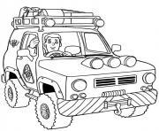 voiture 4x4 pompier dessin à colorier