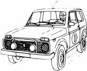 ancien vehicule 4x4 de course dessin à colorier