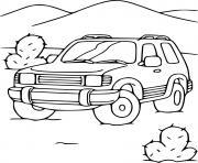 voiture 4x4 dans le desert dessin à colorier